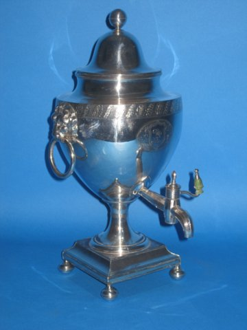 Old Sheffield Plate silver coffee urn, circa 1795 - Click to enlarge and for full details.