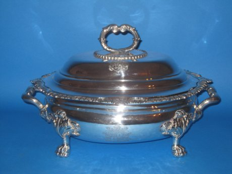 Old Sheffield plate Silver Soup tureen, circa 1810 - Click to enlarge and for full details.
