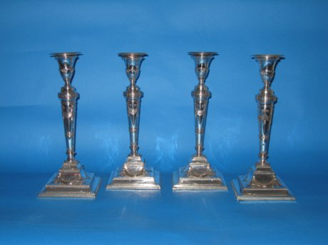 Set of four Old Sheffield Plate silver candlesticks, circa 1780 - Click to enlarge and for full details.