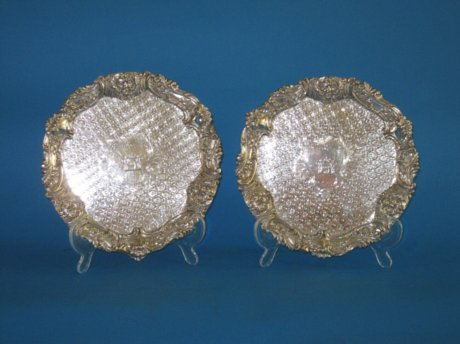 Fine pair of Regency Old Sheffield Plate Silver salvers, circa 1820 - Click to enlarge and for full details.