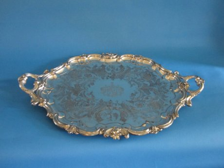 Oval Shaped Old Sheffield Plate Silver Tea Tray, 1830 - Click to enlarge and for full details.
