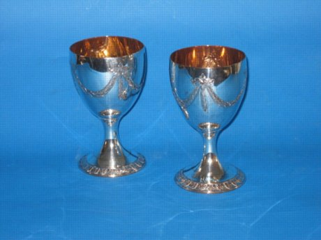 Pair 18th Century goblets, circa 1780 - Click to enlarge and for full details.