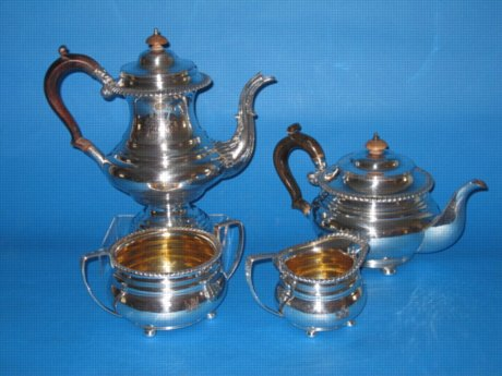 Regency period OldSheffield Plate silver Tea set, circa 1825 - Click to enlarge and for full details.
