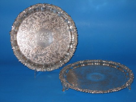 Pair small Old Sheffield Plate silver Salvers, circa 1825 - Click to enlarge and for full details.