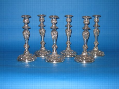 A rare set of six Regency Old Sheffield Plate Silver Candlesticks, circa 1825 - Click to enlarge and for full details.