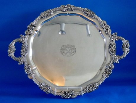 Old Sheffield Plate silver round tea tray, circa 1825 - Click to enlarge and for full details.