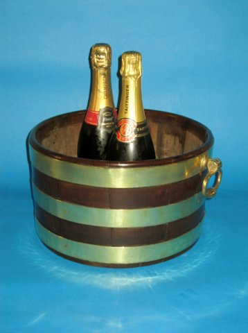 A shallow mahogany & brass bound bucket, circa 1800 - Click to enlarge and for full details.