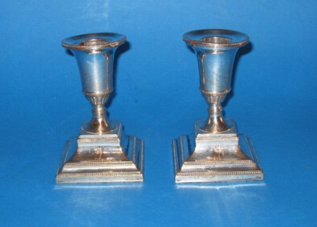 Pair of dwarf candlesticks, circa 1780 - Click to enlarge and for full details.