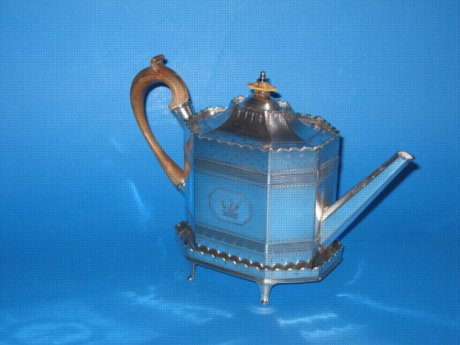 18th Century Old Sheffield plate silver teapot & stand - Click to enlarge and for full details.
