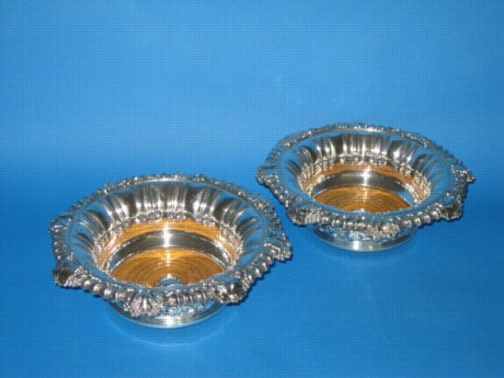 Pair of Old Sheffield Plate silver Magnum Bottle Coasters - Click to enlarge and for full details.