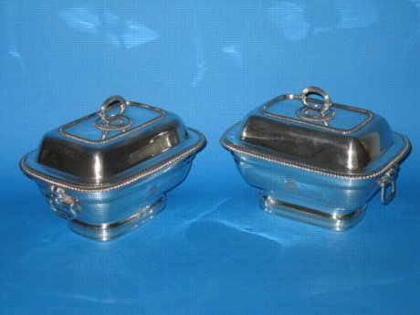 Pair Old Sheffield Plate Silver Sauce Tureens & covers, circa 1810 - Click to enlarge and for full details.