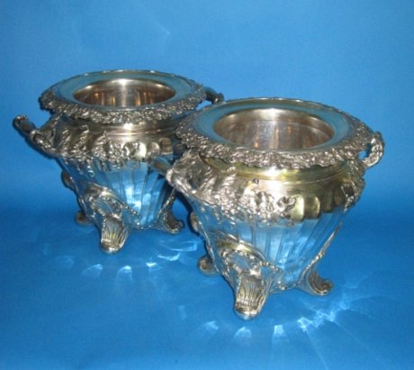 Fine pair of Old Sheffield Plate silver Wine Coolers, Georgian, circa 1825. - Click to enlarge and for full details.