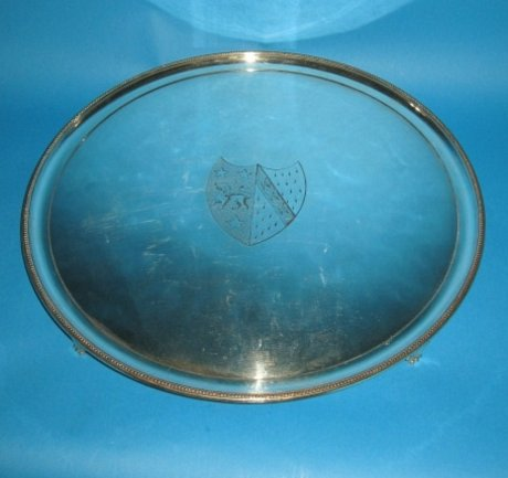 Georgian Old Sheffield Plate silver salver, George III circa 1780. - Click to enlarge and for full details.