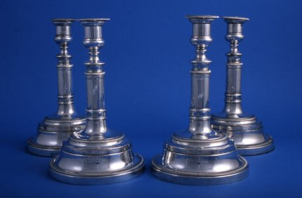 Set of four Old Sheffield Ships Candlesticks - Click to enlarge and for full details.