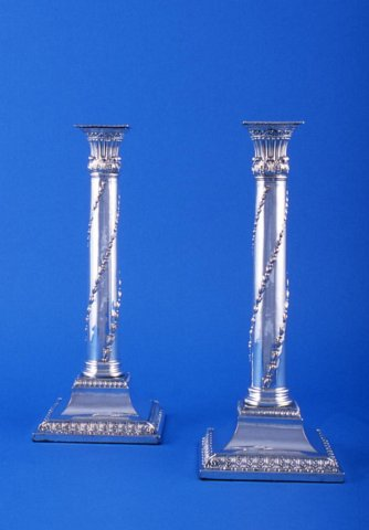 Pair of  Old Sheffield square base Candlesticks - Click to enlarge and for full details.