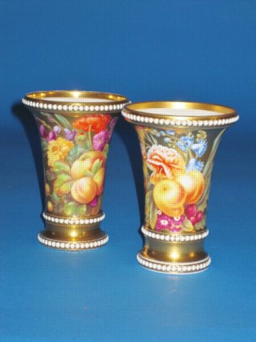 PAIR SPODE PORCELAIN SPILL VASES. CIRCA 1815-20 - Click to enlarge and for full details.