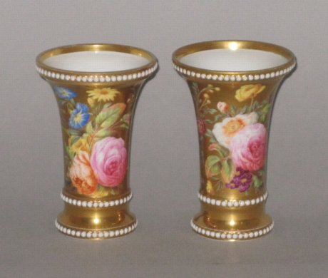 Pair SPODE porcelain Spill Vases, circa 1815-20 - Click to enlarge and for full details.